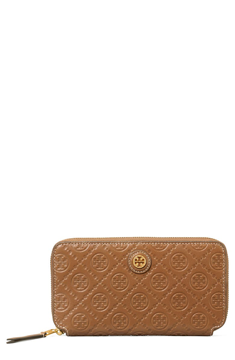 TORY BURCH T Monogram Leather Continental Wallet, Main, color, MOOSE