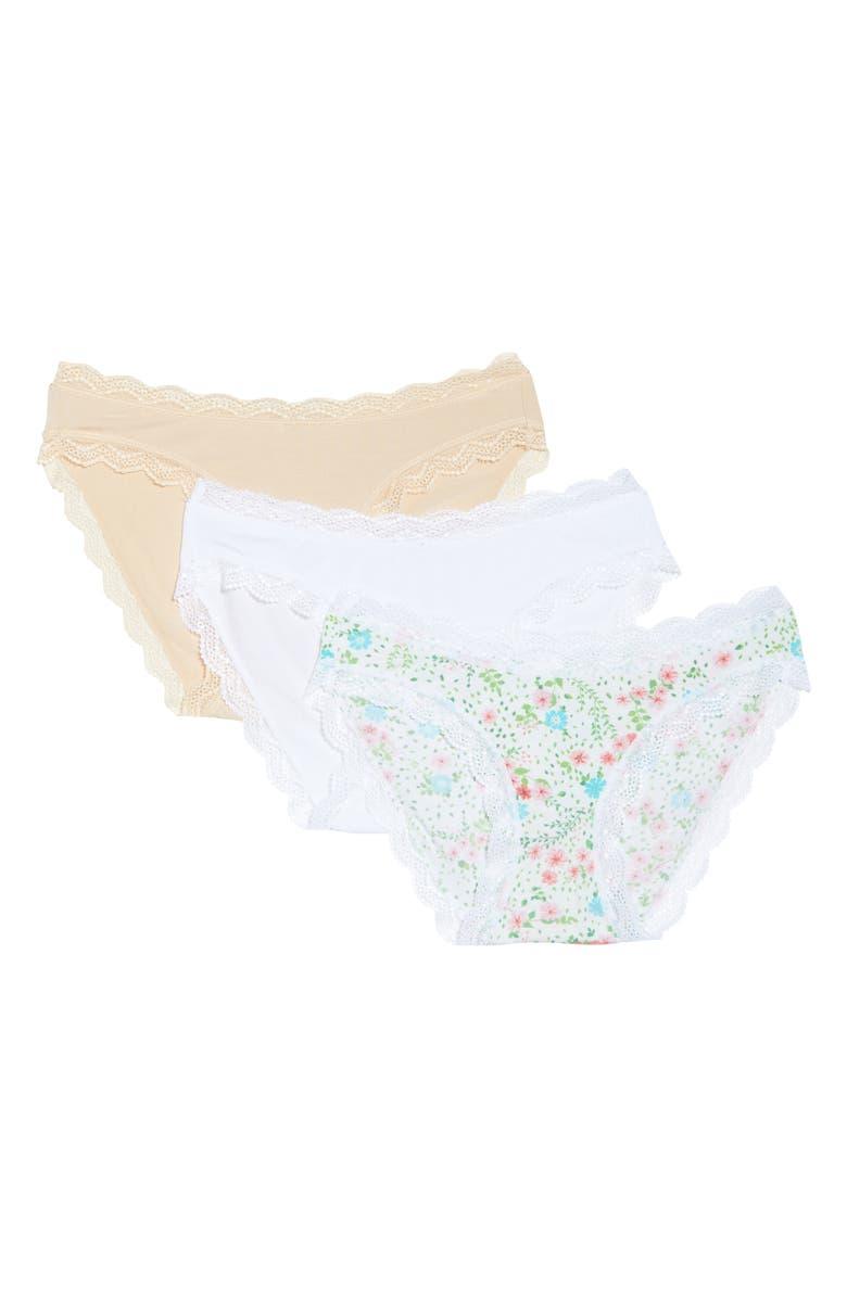 STRIPE & STARE Stripe + Stare Summer Basics 3-Pack Briefs, Main, color, WHITE MULTI