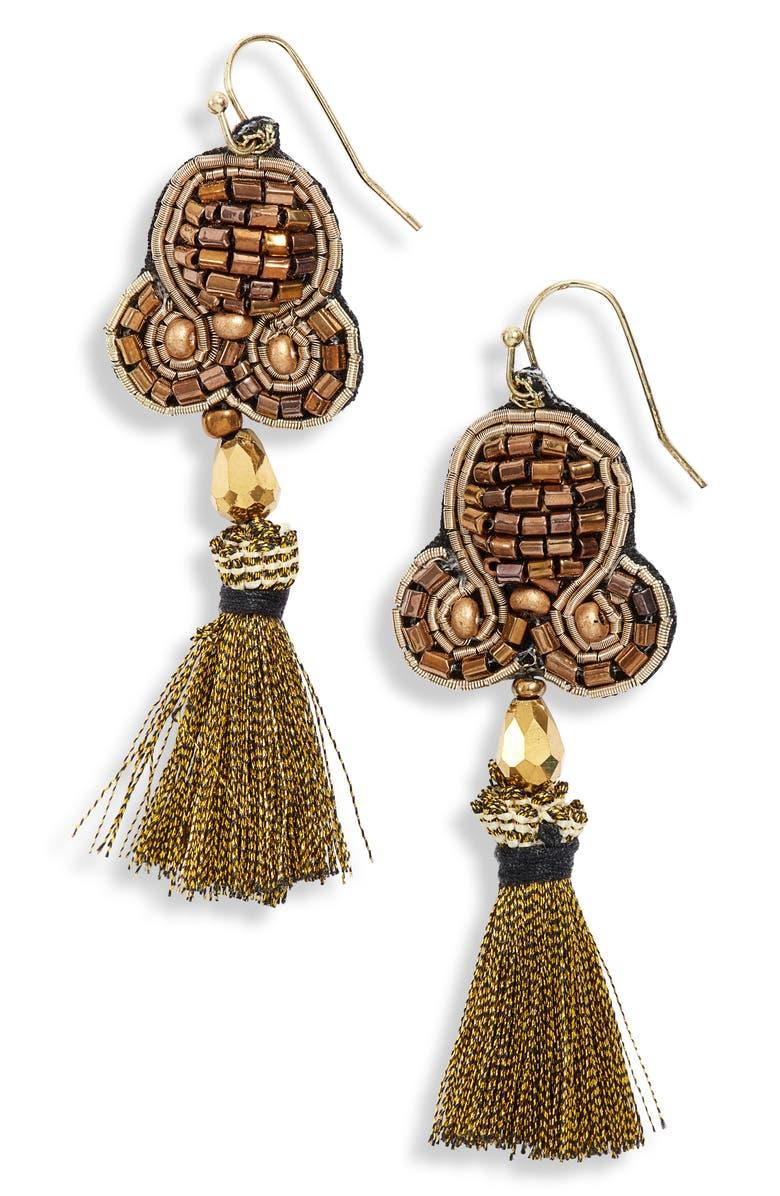 MAD JEWELS Kendra Beaded Tassel Earrings, Main, color, 710