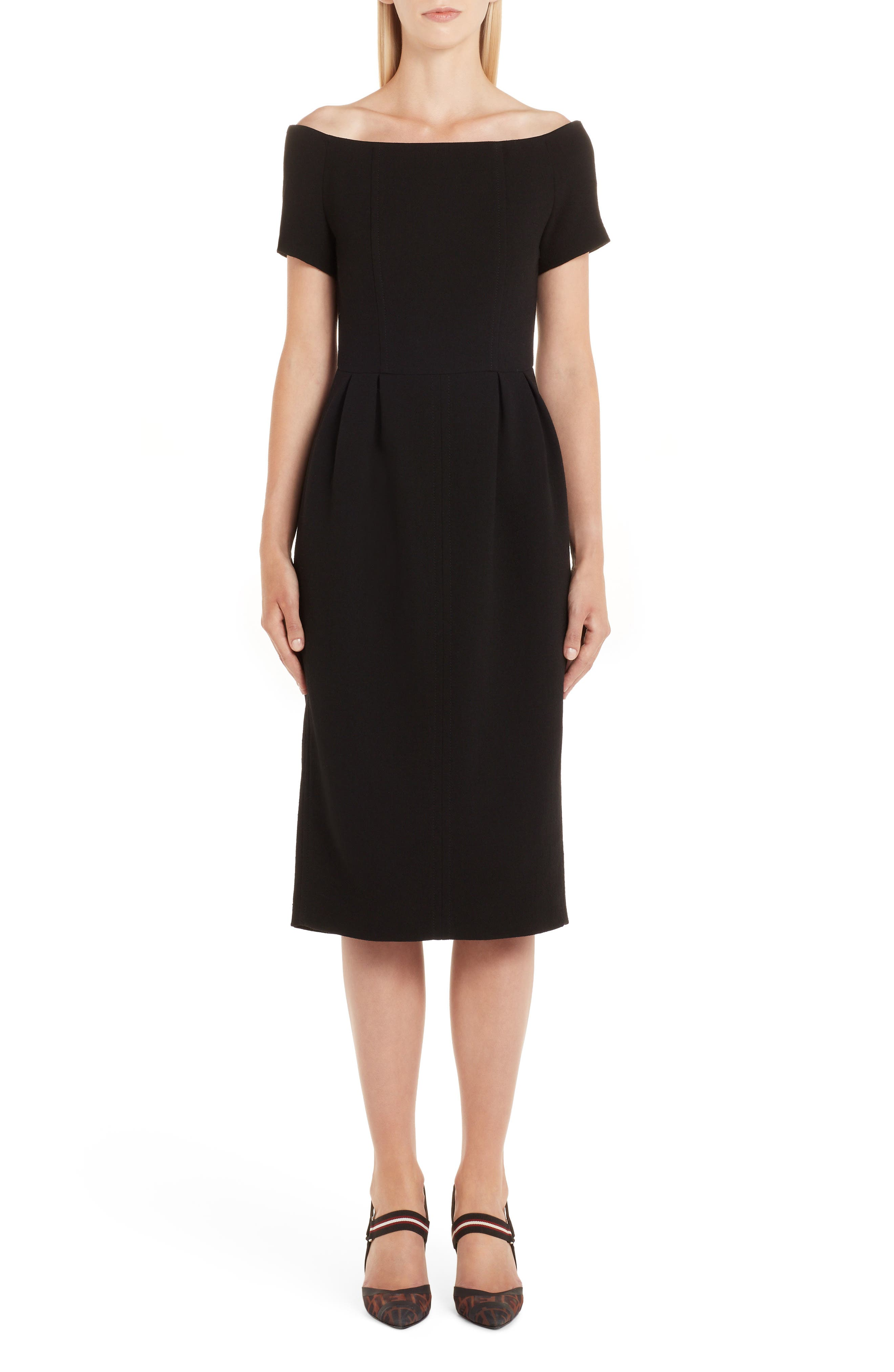 Fendi Off The Shoulder Wool Crepe Dress, 50 IT - Black