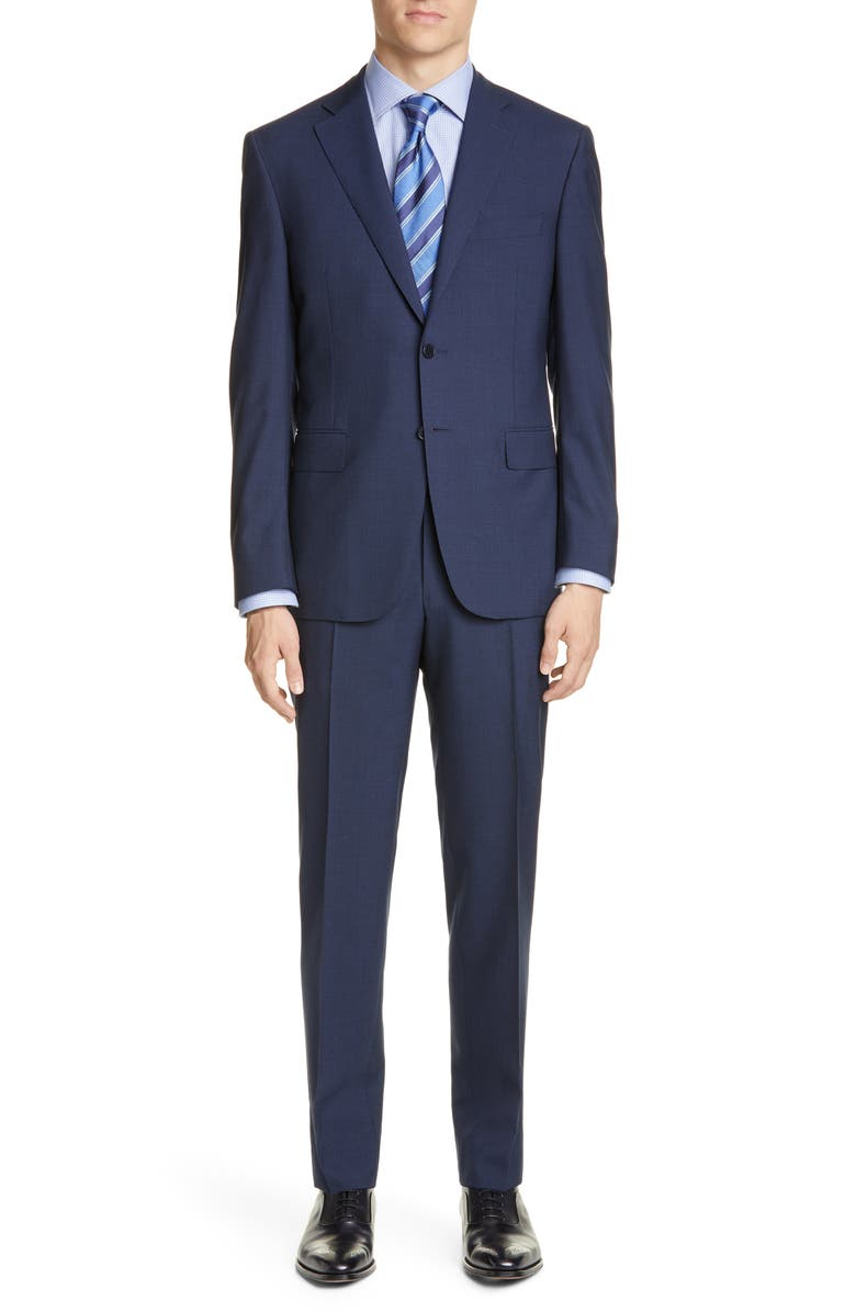 CANALI Sienna Soft Classic Fit Solid Wool Suit, Main, color, NAVY