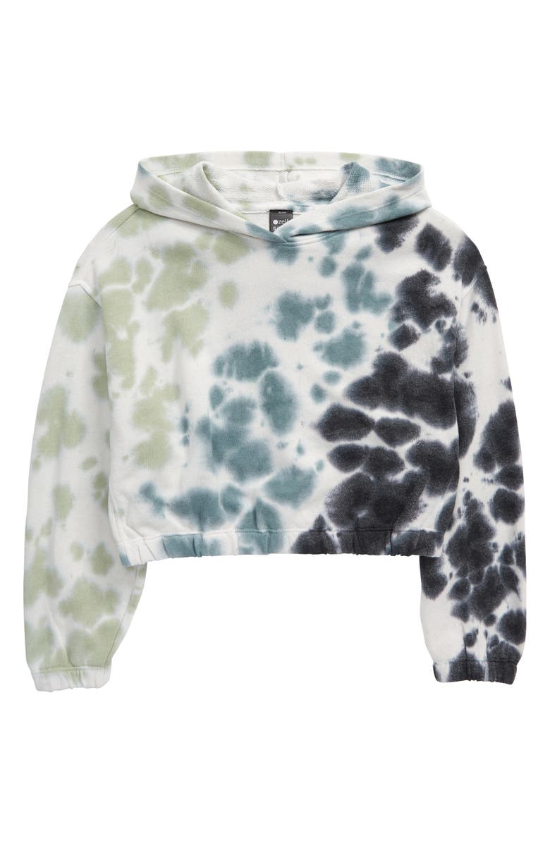 ZELLA GIRL Tie Dye Fleece Hooded Sweatshirt, Main, color, TEAL ARCTIC TIE DYE
