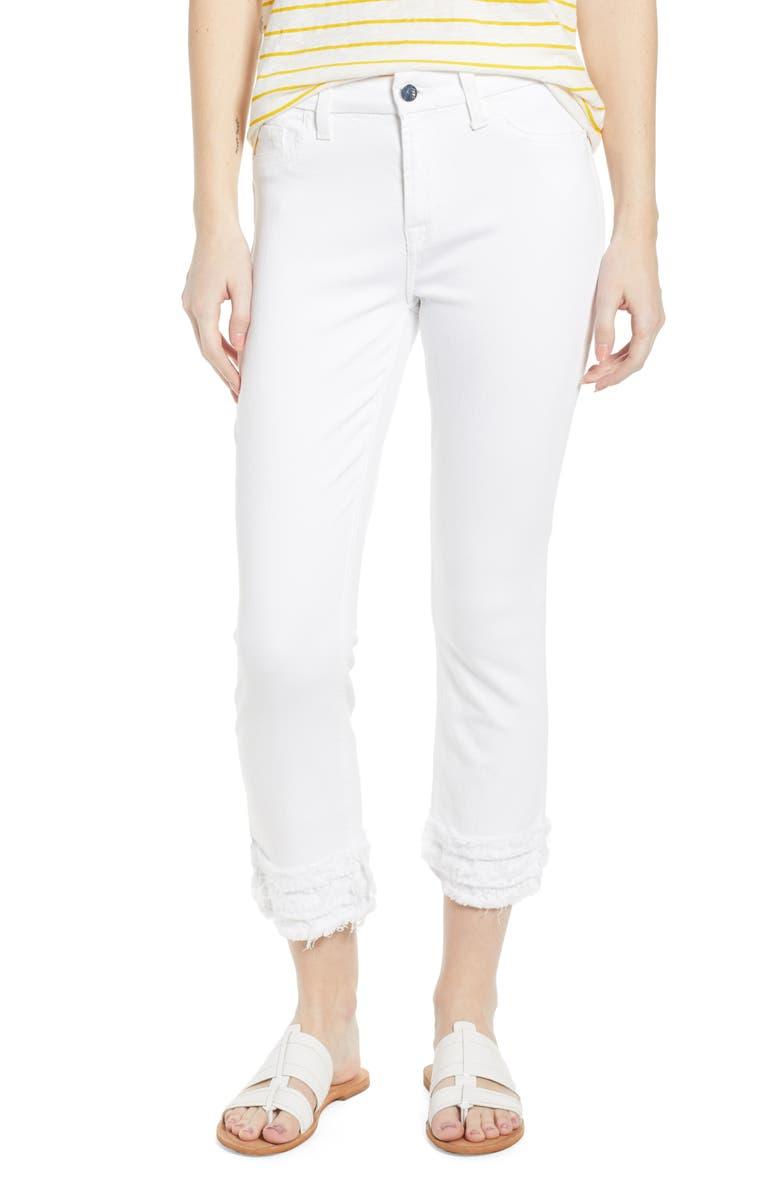 JEN7 BY 7 FOR ALL MANKIND Fringe Hem Crop Jeans, Main, color, 101