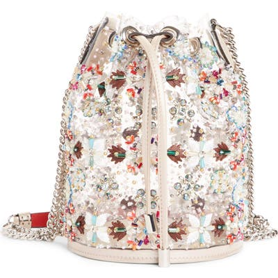 Christian Louboutin Marie Jane Embroidered Bucket Bag - Metallic