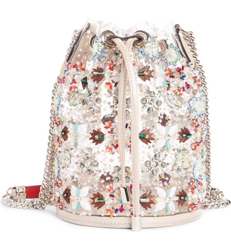 CHRISTIAN LOUBOUTIN Marie Jane Embroidered Bucket Bag, Main, color, SILVER MULTI/TRANSPARENT/NUDE