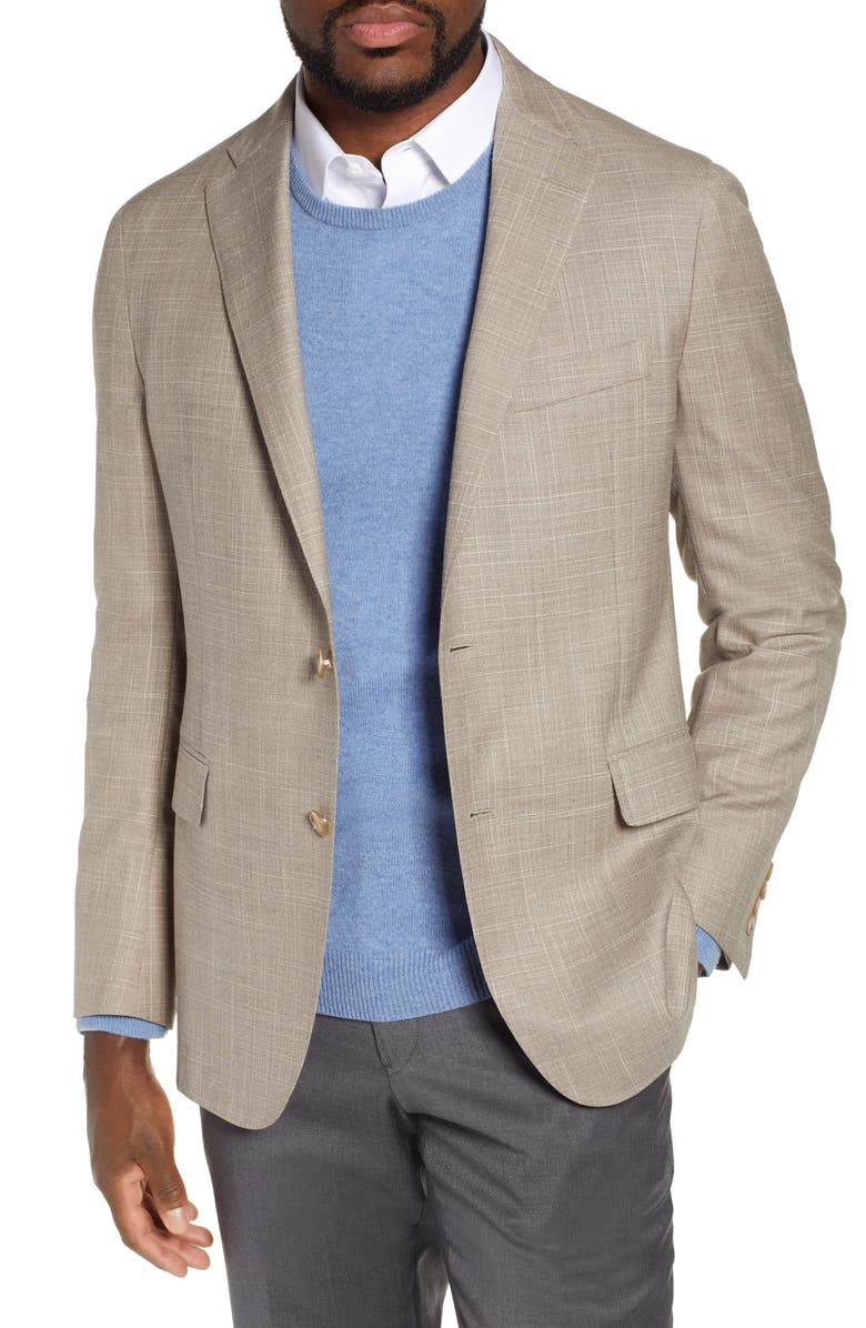 HICKEY FREEMAN Classic B Fit Check Wool & Silk Sport Coat, Main, color, 250