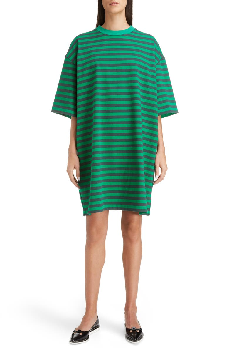 THE MARC JACOBS MARC JACOBS The Striped T-Shirt Dress, Main, color, GREEN MULTI