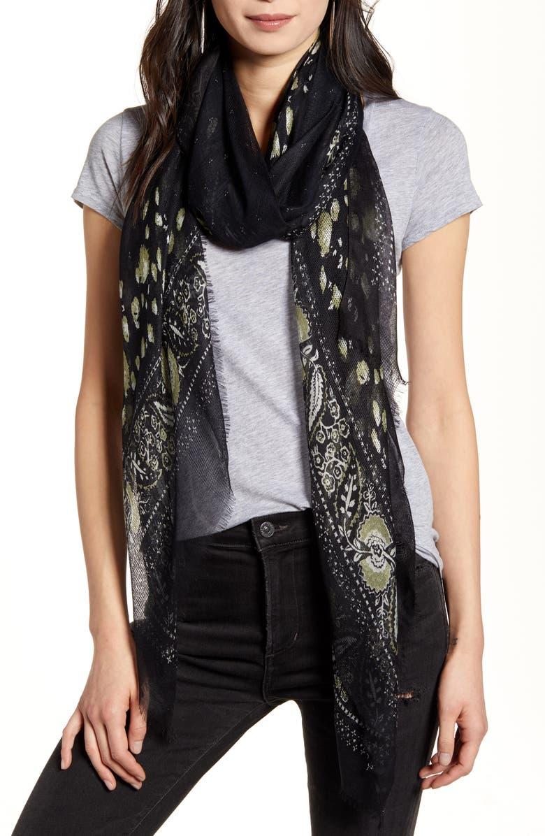 TREASURE & BOND Print Open Weave Wrap, Main, color, BLACK KEEPSAKE MIX PRINT