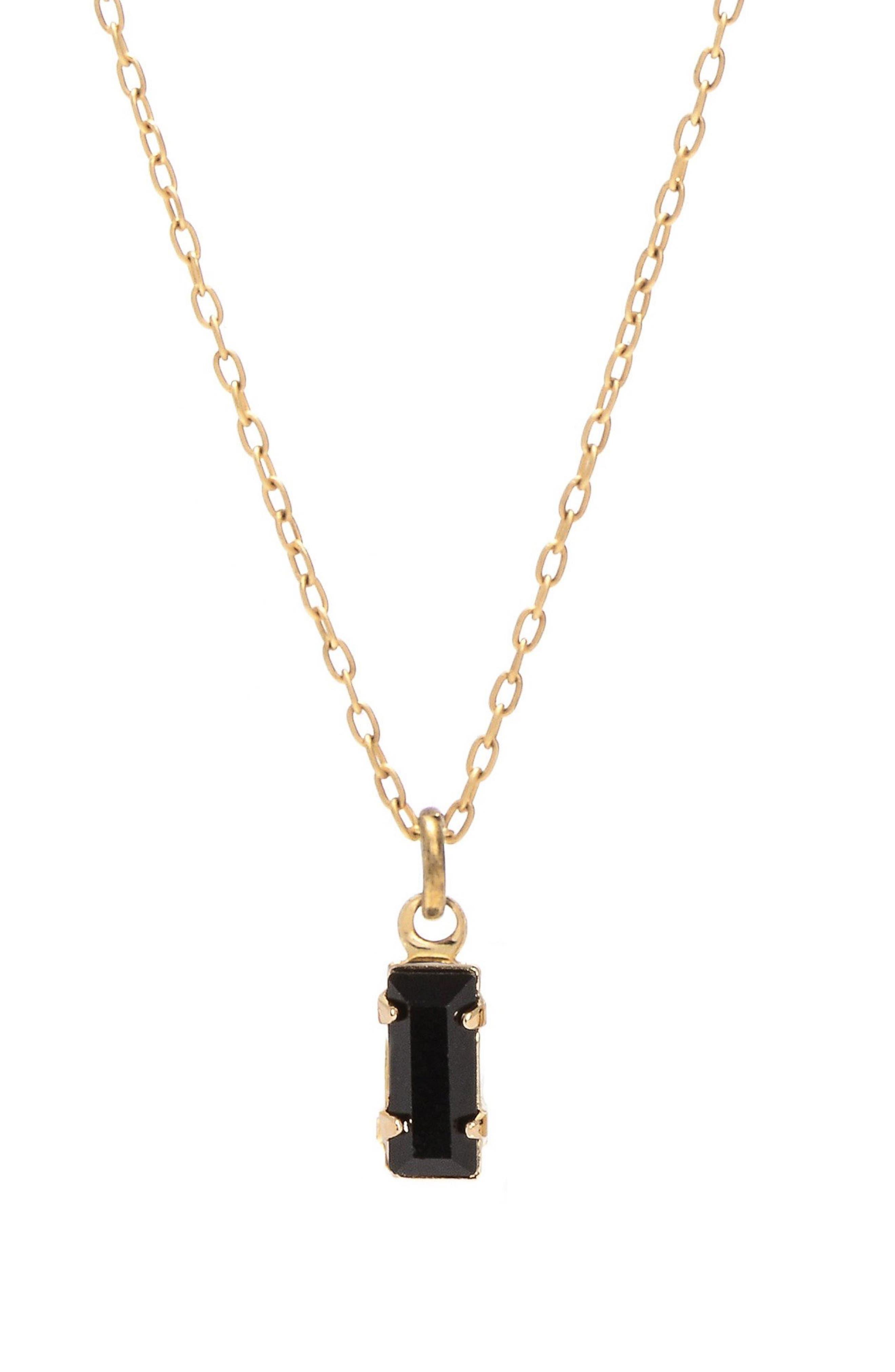 Tiny Baguette Pendant Necklace