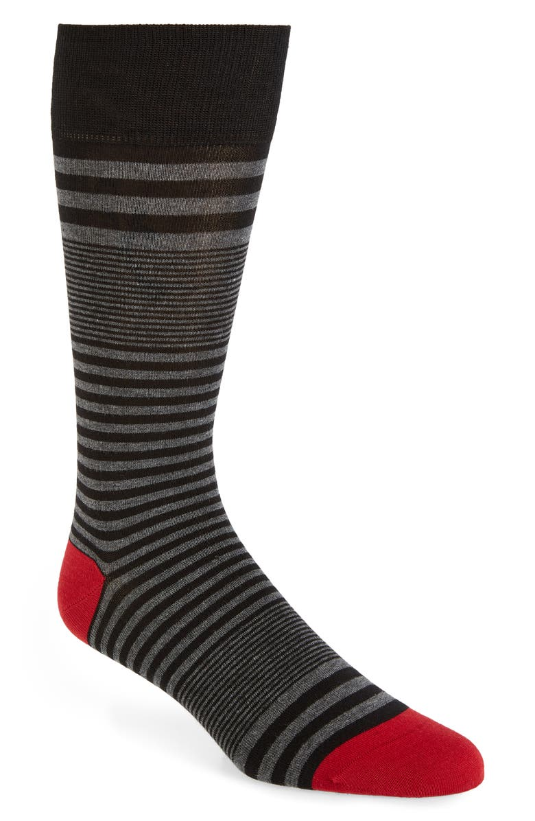 COLE HAAN Skater Stripe Socks, Main, color, BLACK