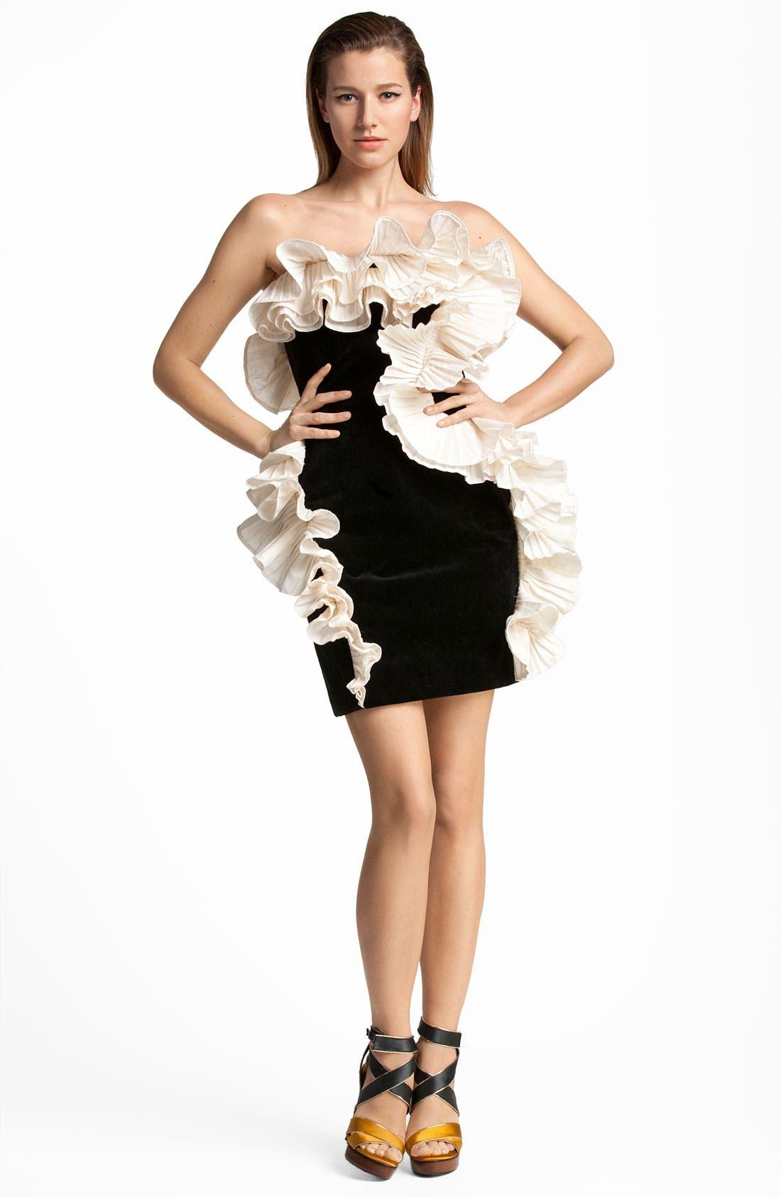 ,                             Contrast Ruffle Velvet Cocktail Dress,                             Main thumbnail 1, color,                             001