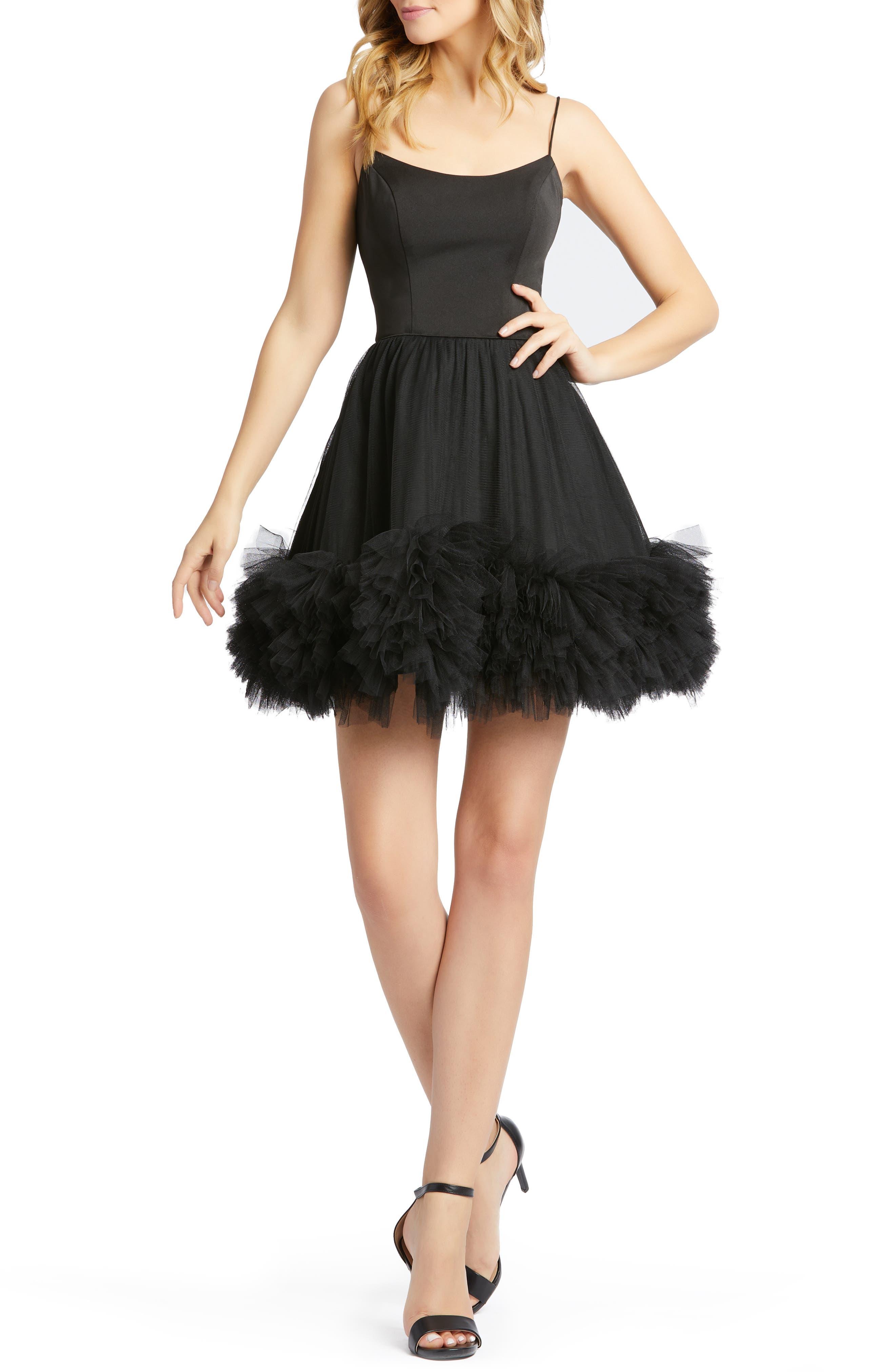 Image of Mac Duggal Sleeveless Fit & Flare Tutu Hem Mini Dress