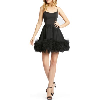 MAC Duggal Tulle Hem Fit & Flare Minidress, Black