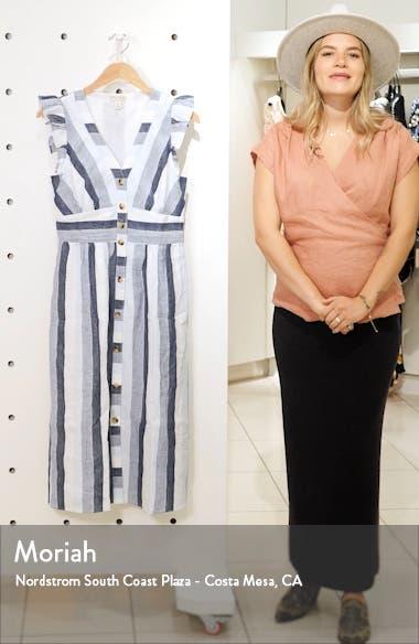 Indigo Stripe Button Front Linen Midi Dress, sales video thumbnail