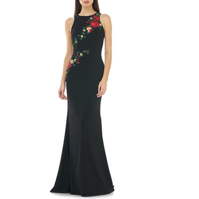 Carmen Marc Valvo Infusion Floral Embroidered Mermaid Gown, Black