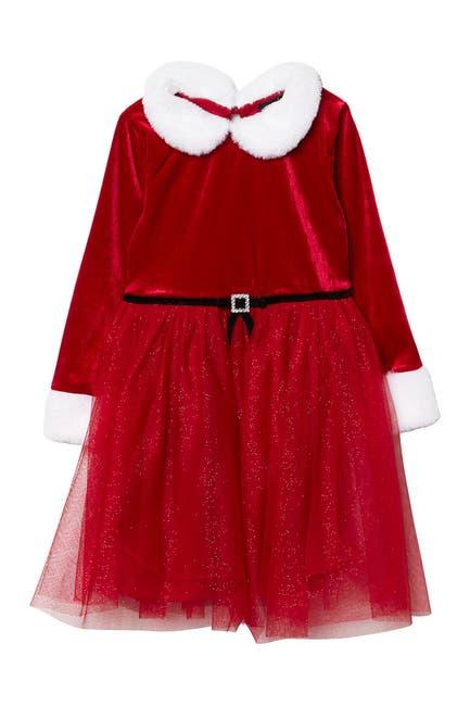 Image of Zunie Long Sleeve Glitter Santa Dress