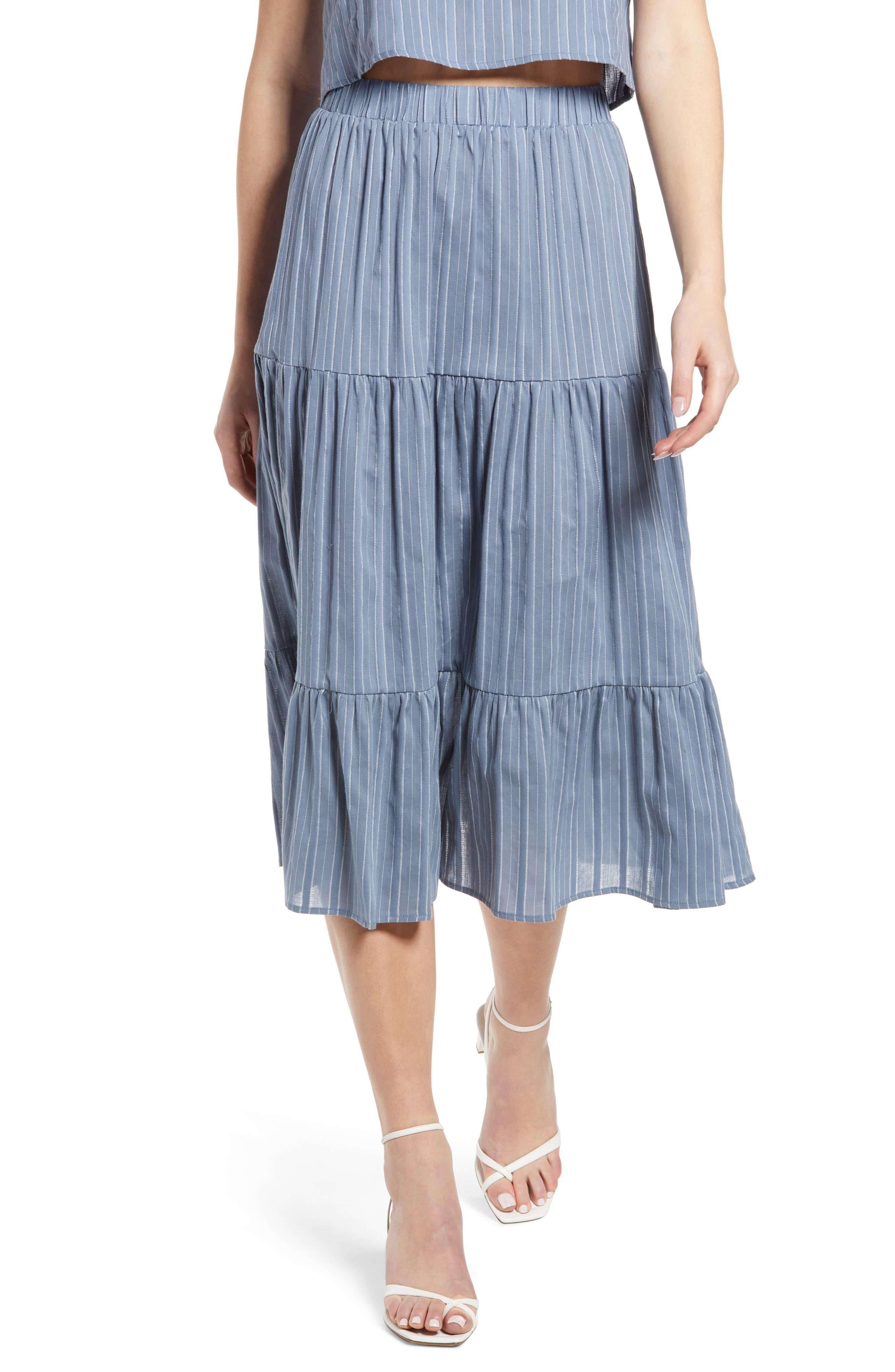 Naomi Stripe Tiered Ruffle Cotton Blend Skirt