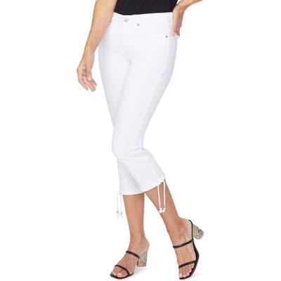 Petite Nydj Drawcord Hem Capri Jeans, White