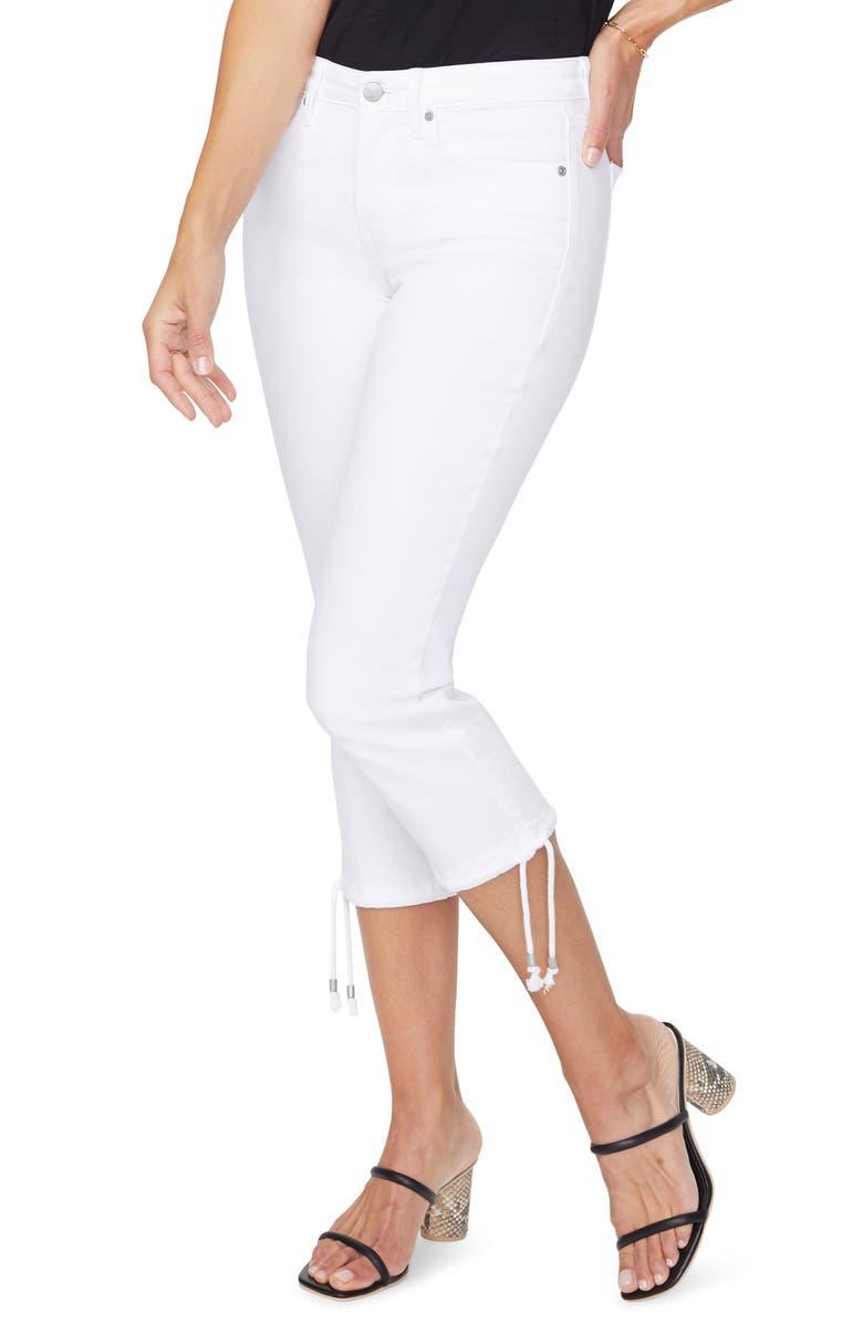 NYDJ Drawcord Hem Capri Jeans, Main, color, OPTIC WHITE
