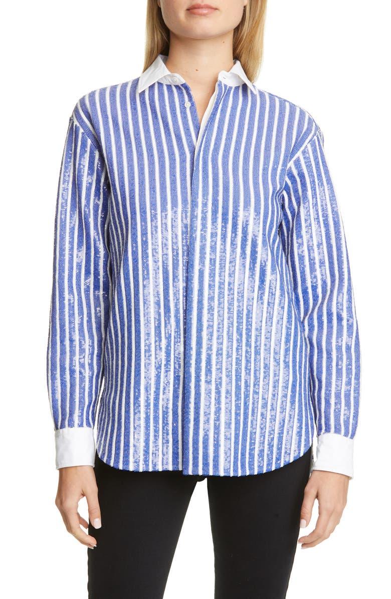 POLO RALPH LAUREN Sequin Stripe Long Sleeve Blouse, Main, color, BLUE/ WHITE
