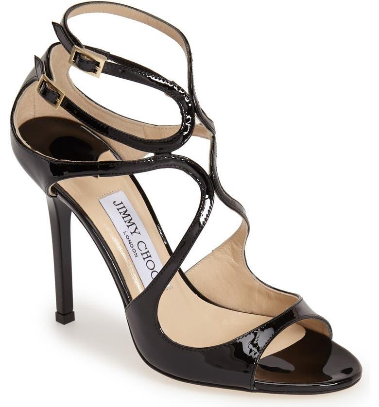 JIMMY CHOO Lang Patent Sandal, Main, color, 001