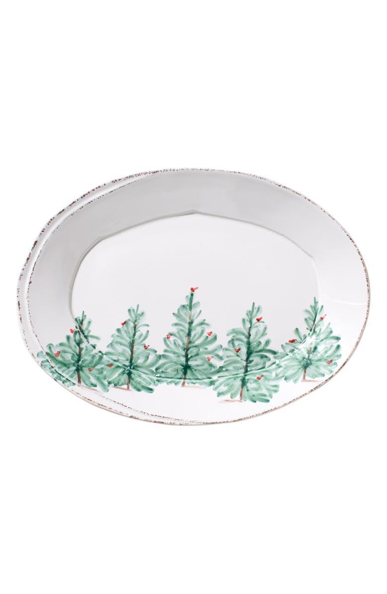 VIETRI Lastra Holiday Small Oval Platter, Main, color, MULTI