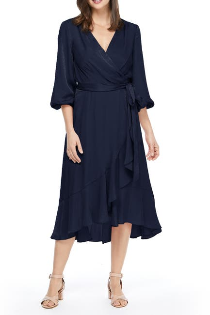 Image of Gal Meets Glam Satin Ruffle Wrap Dress