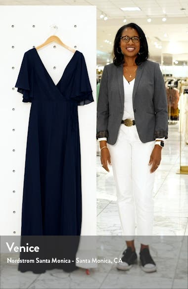 Ari Flutter Sleeve Faux Wrap Evening Gown, sales video thumbnail