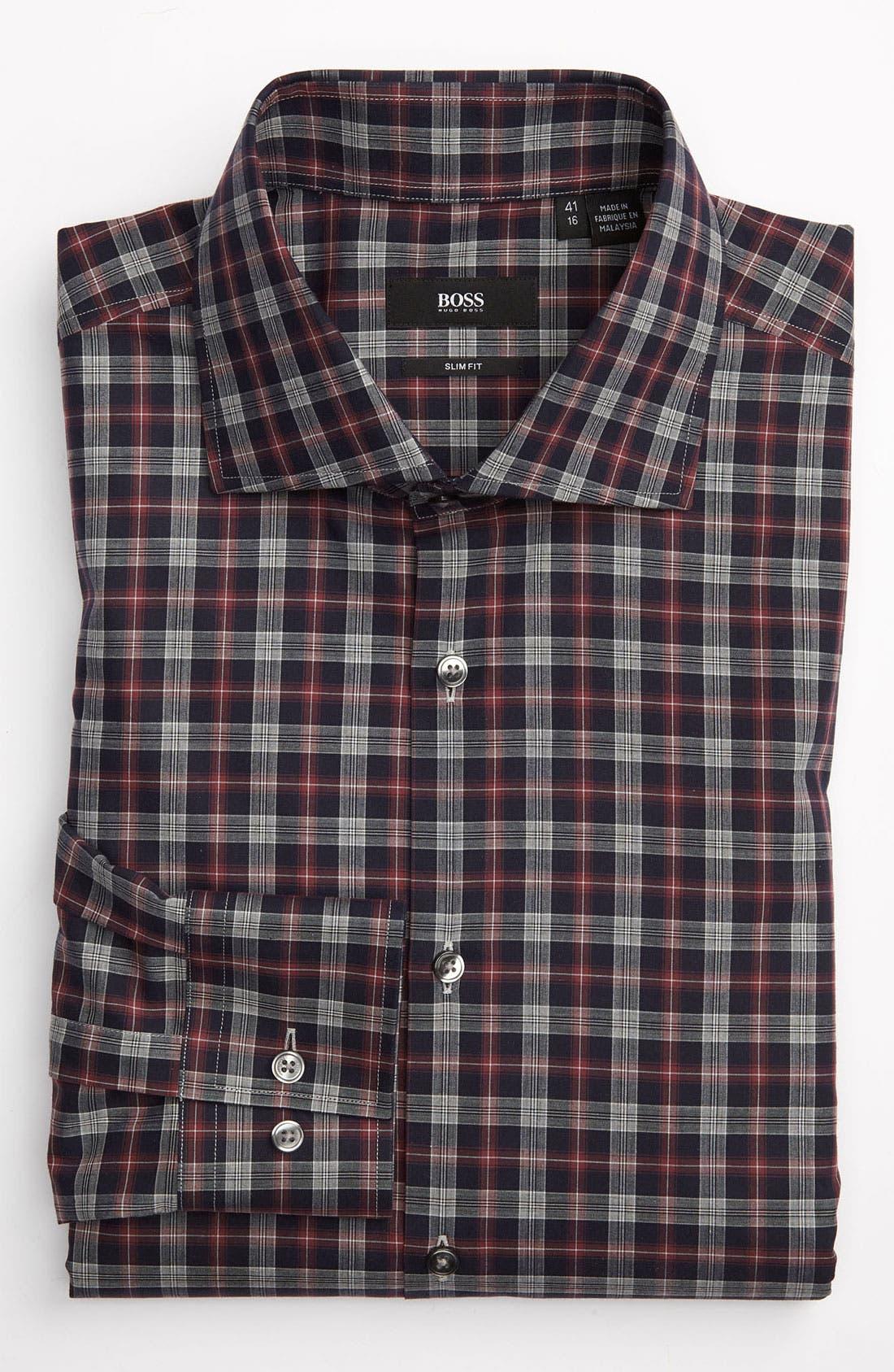,                             Black Slim Fit Dress Shirt,                             Main thumbnail 1, color,                             410