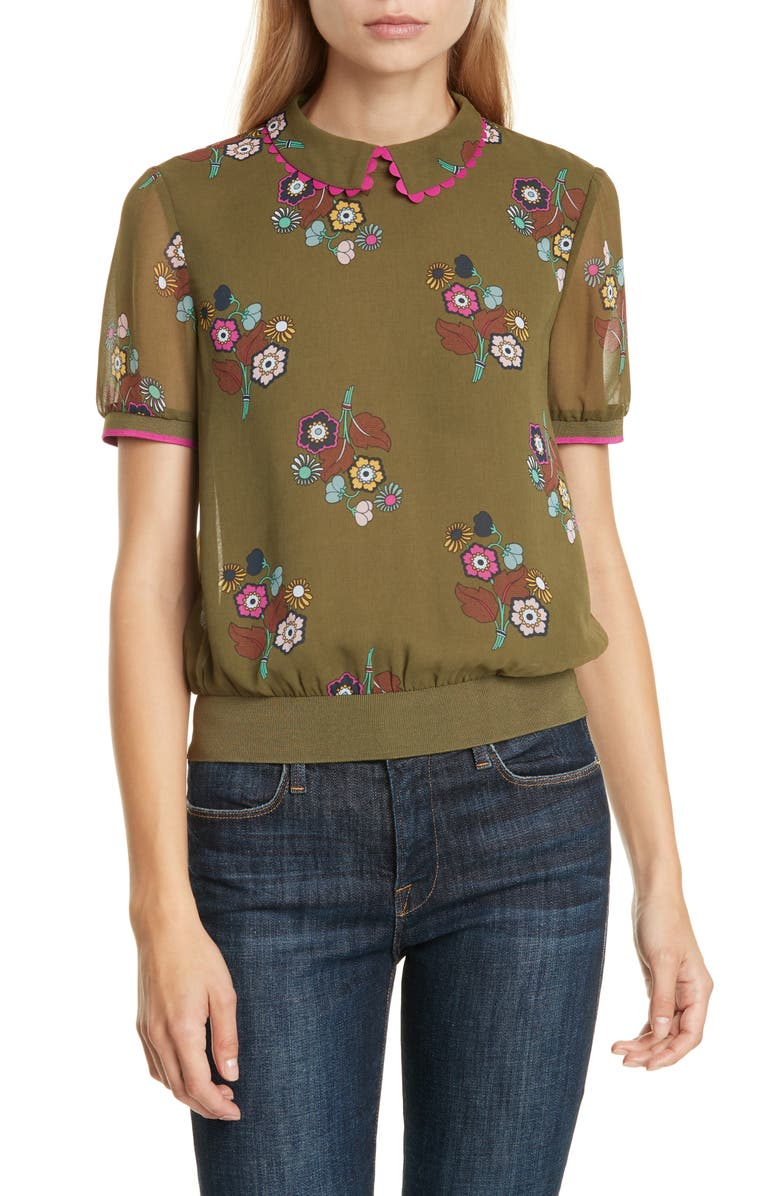 TED BAKER LONDON Colour by Numbers Cleiss Scallop Collar Short Sleeve Top, Main, color, 300
