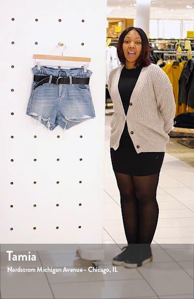 Belted High Waist Denim Shorts, sales video thumbnail