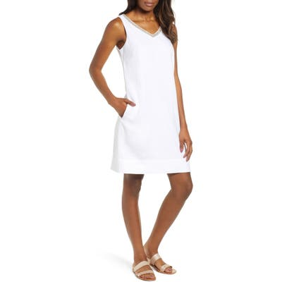 Tommy Bahama Linen Embellished Shift Dress, White