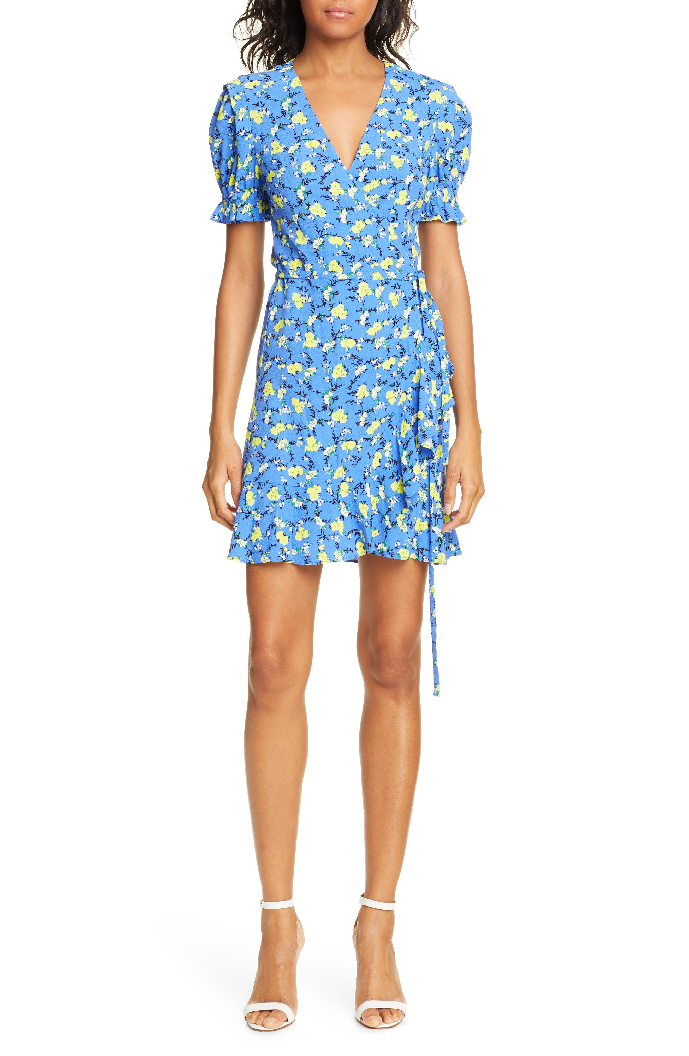 Dvf Emilia Floral Short Sleeve Wrap Dress, Blue