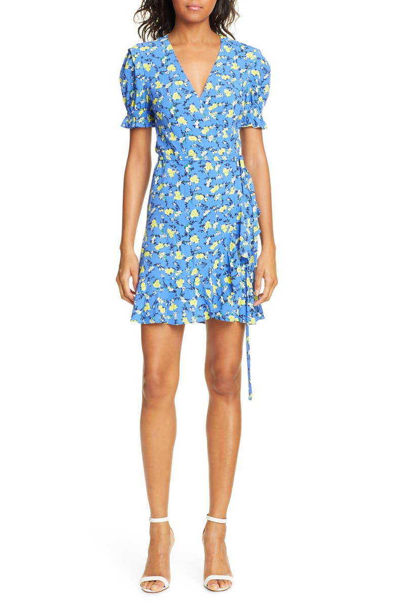 DVF Emilia Floral Short Sleeve Wrap Dress, Main, color, DITSY VINES BAJA BLUE