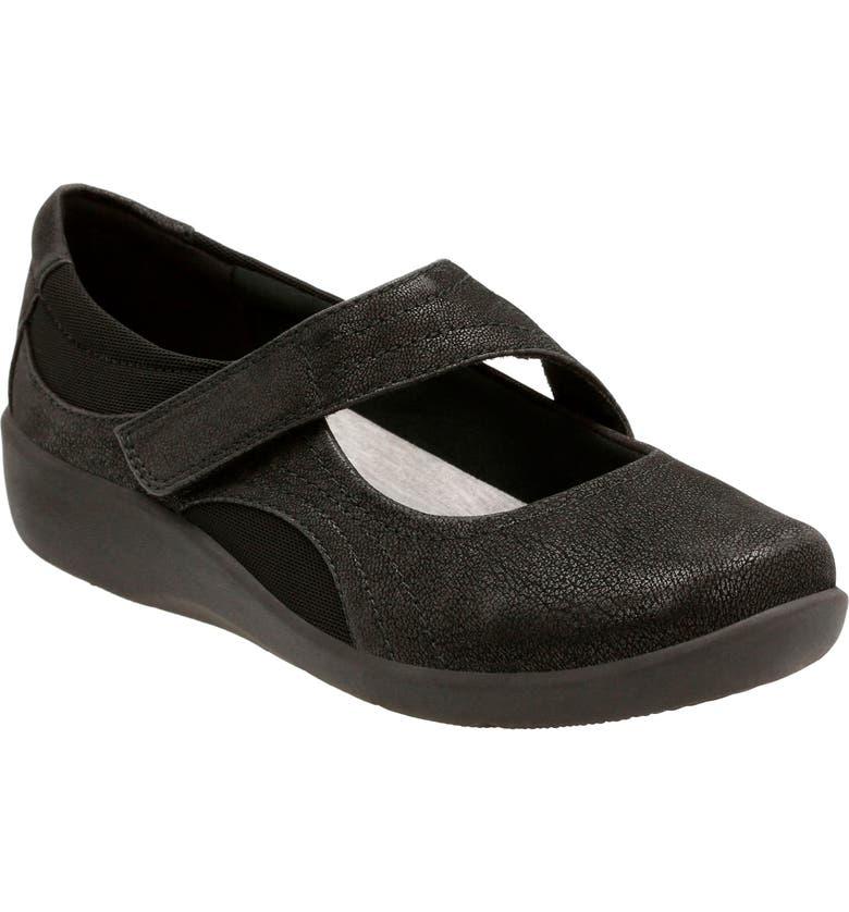 CLARKS<SUP>®</SUP> Sillian Bella Mary Jane Flat, Main, color, BLACK FABRIC
