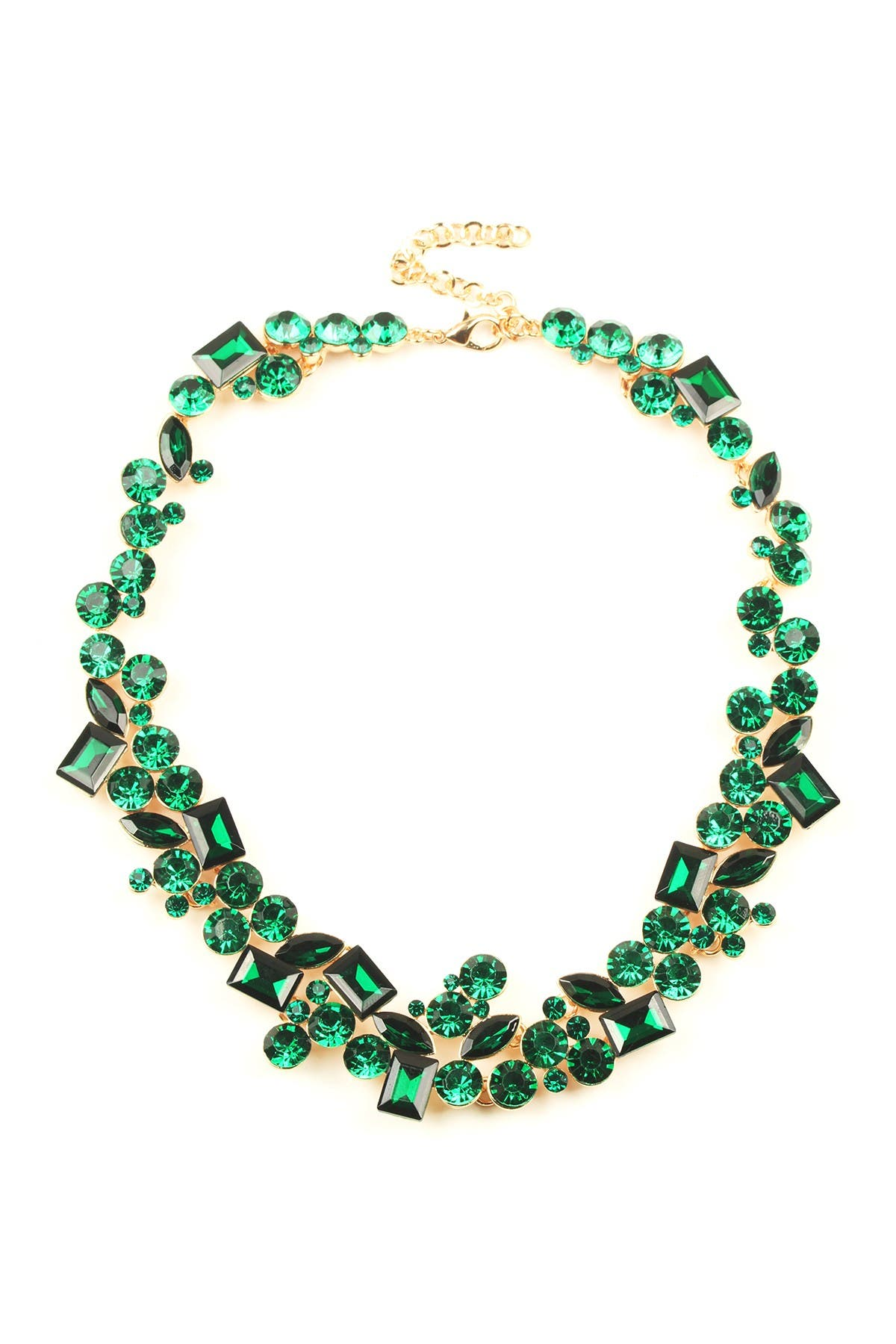 Image of Eye Candy Los Angeles Multi Shape Green Crystal Cluster Collar Necklace