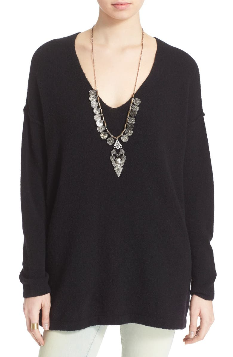 FREE PEOPLE 'Softly'V-Neck Sweater, Main, color, 001