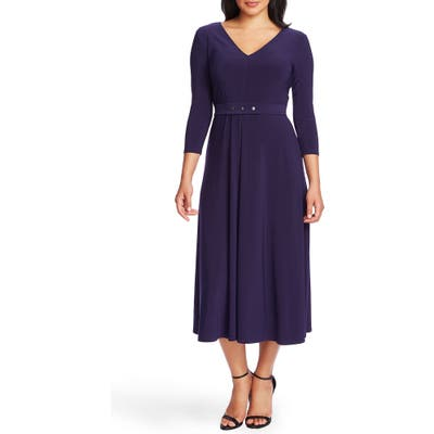 Chaus V-Neck Belted Midi Dress, Blue