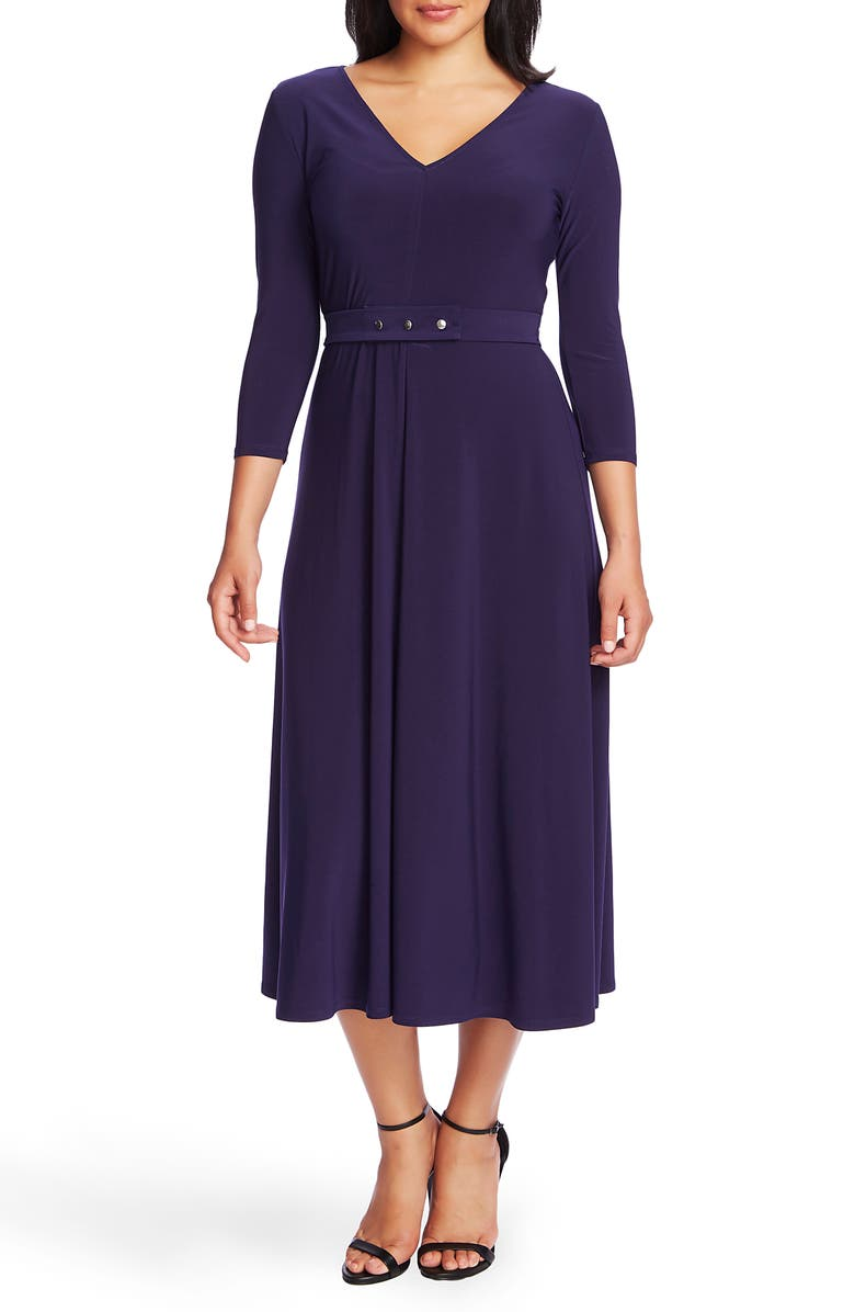 CHAUS V-Neck Belted Midi Dress, Main, color, EVENING NAVY