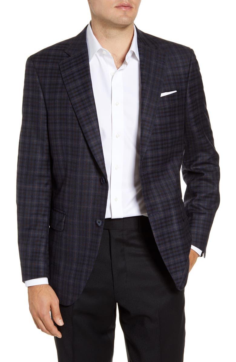 PETER MILLAR Flynn Classic Fit Check Wool Sport Coat, Main, color, NAVY