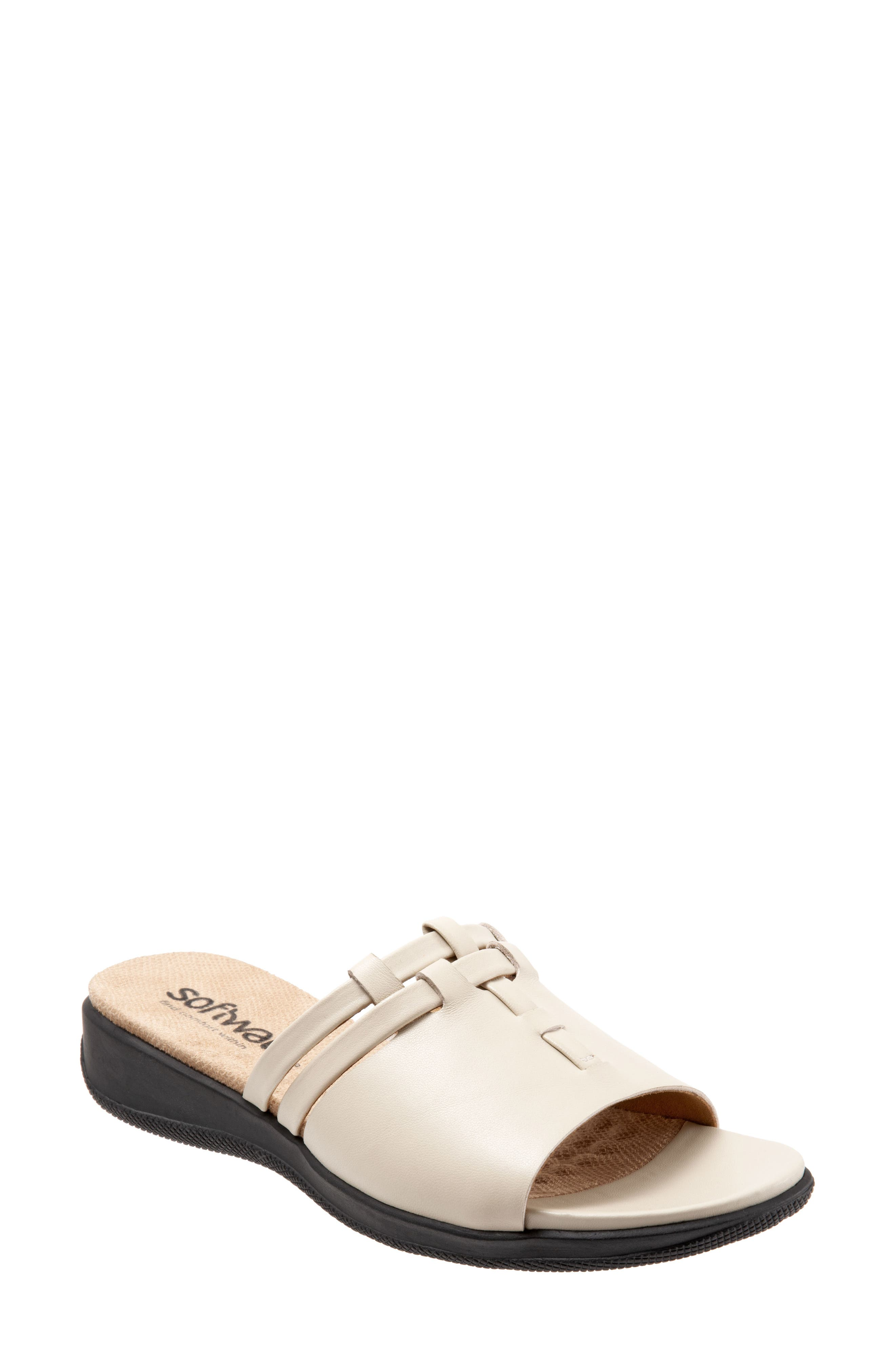 Interlocking straps climb the front and bridge the top of a leather slide sandal styled for comfort with a cushioned footbed wrapped in soft microfiber. Style Name: Softwalk Tahoma Woven Slide Sandal (Women). Style Number: 5812440 1. Available in stores.