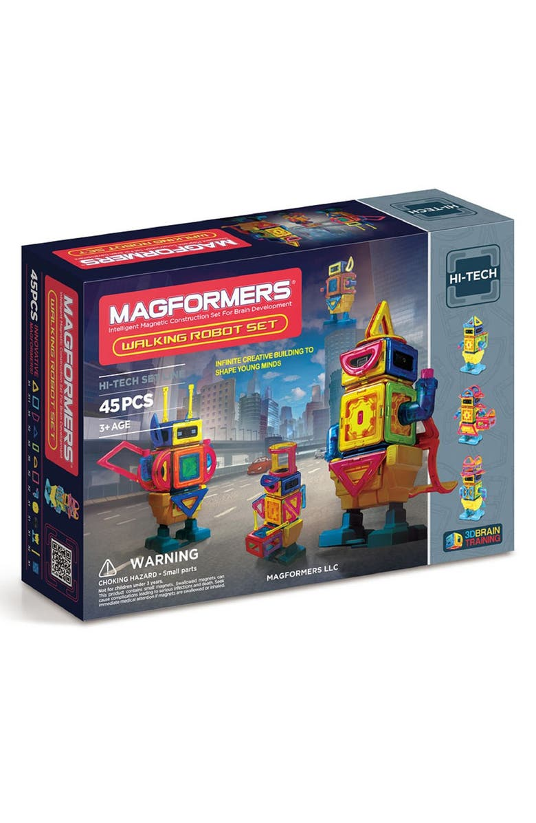 MAGFORMERS 'Walking Robot' Magnetic Wind-Up Construction Kit, Main, color, Rainbow