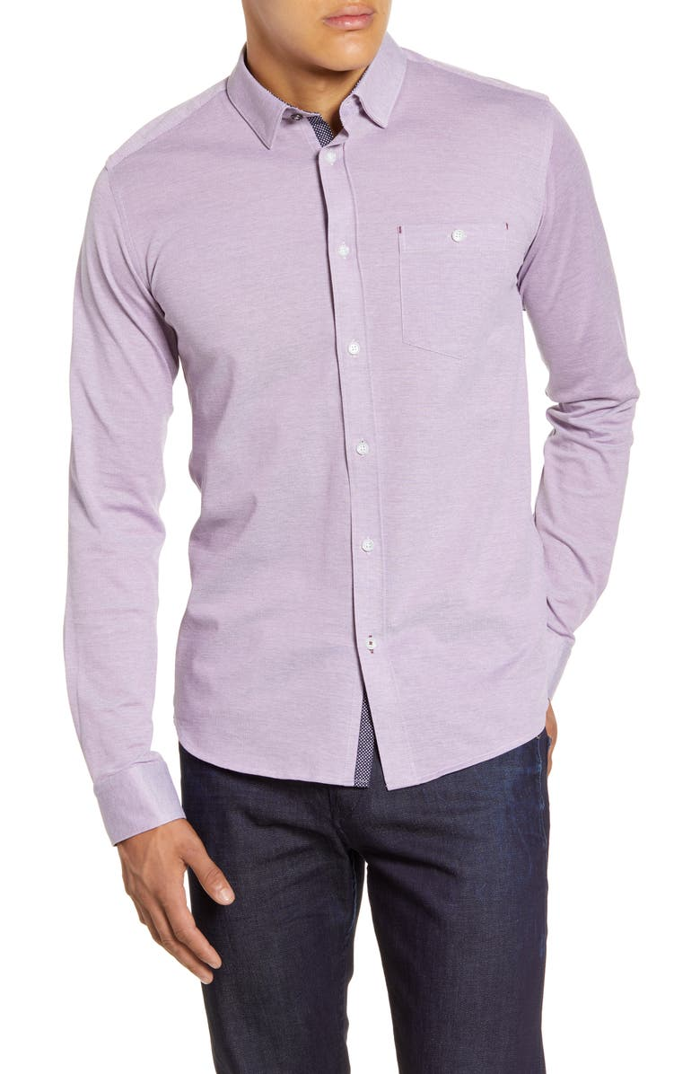 TED BAKER LONDON Broader Slim Fit Button-Up Piqué Sport Shirt, Main, color, PURPLE