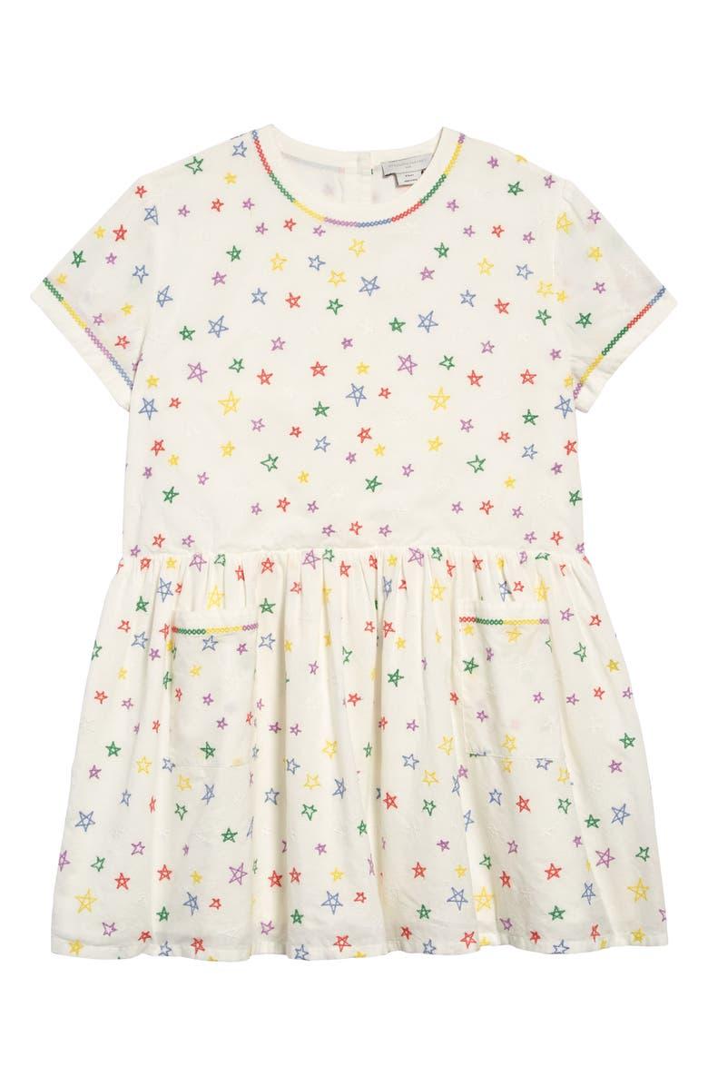 STELLA MCCARTNEY KIDS Stella McCartney Star Embroidered Organic Cotton Dress, Main, color, WHITE
