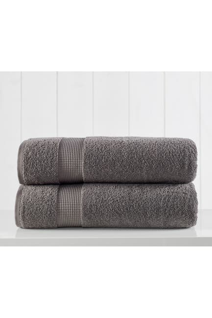 Image of Modern Threads Manor Ridge Turkish Cotton 2 Pack Bath Sheet Set - Charcoal