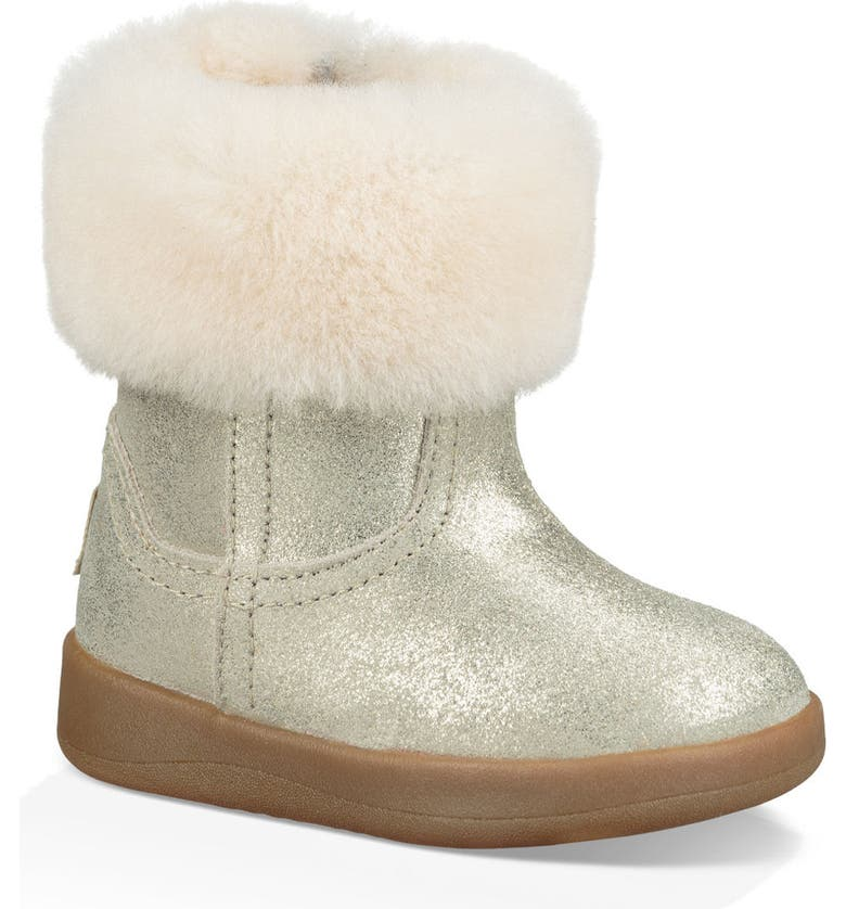 UGG<SUP>®</SUP> Jorie II Metallic Genuine Shearling Boot, Main, color, GOLD