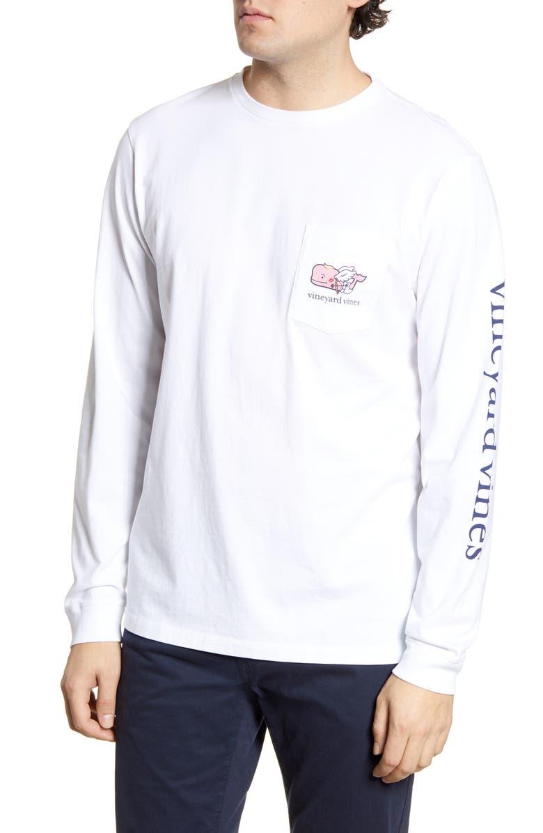 VINEYARD VINES Cupid Whale Long Sleeve Pocket T-Shirt, Main, color, 100