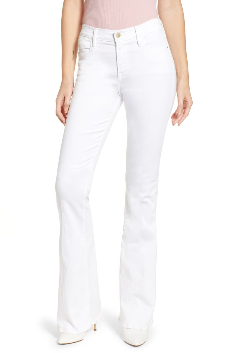 FRAME Le High Flare Jeans, Main, color, BLANC
