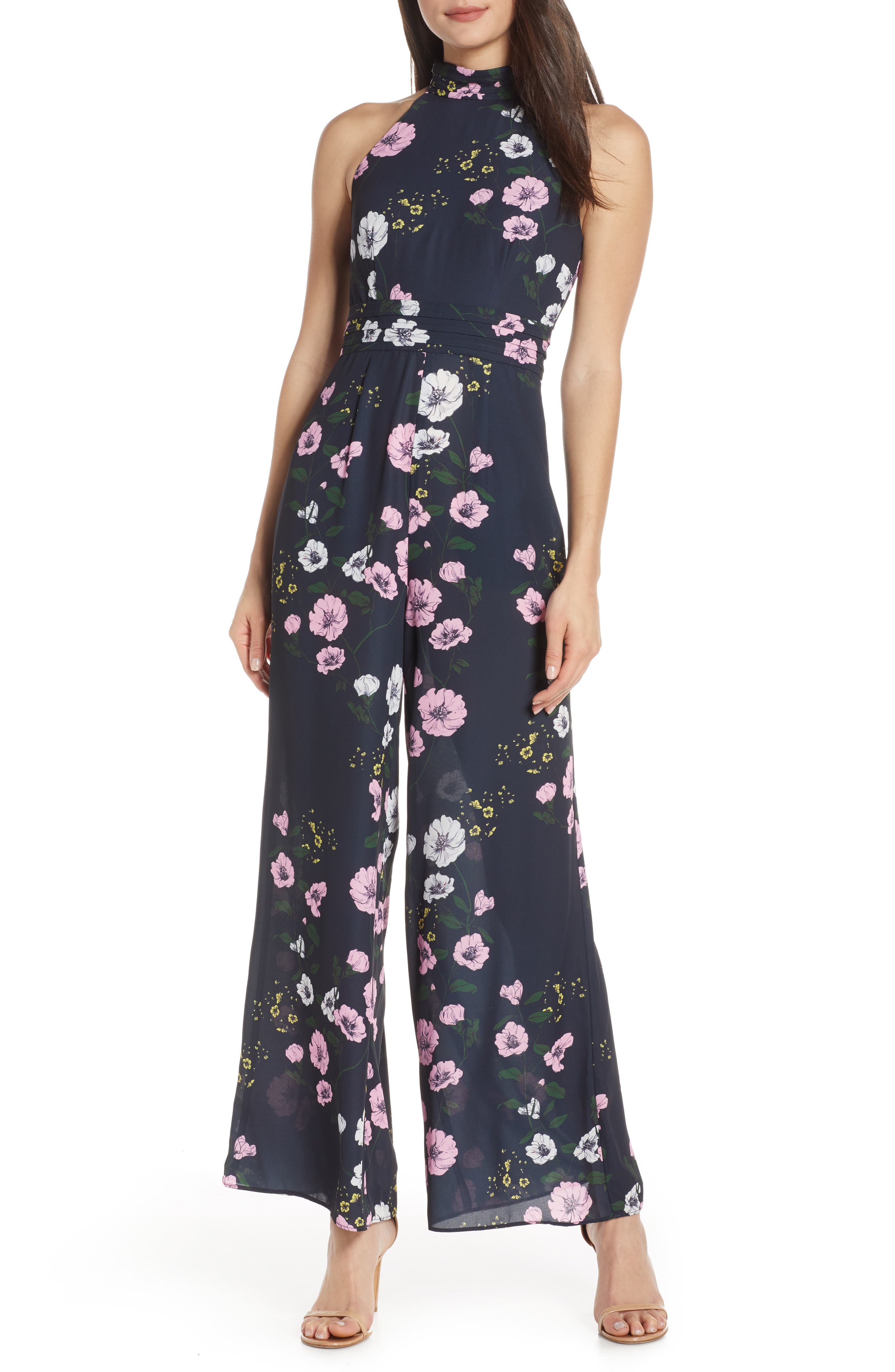 ,                             Darkness Floral Jumpsuit,                             Main thumbnail 1, color,                             NAVY BLOOM