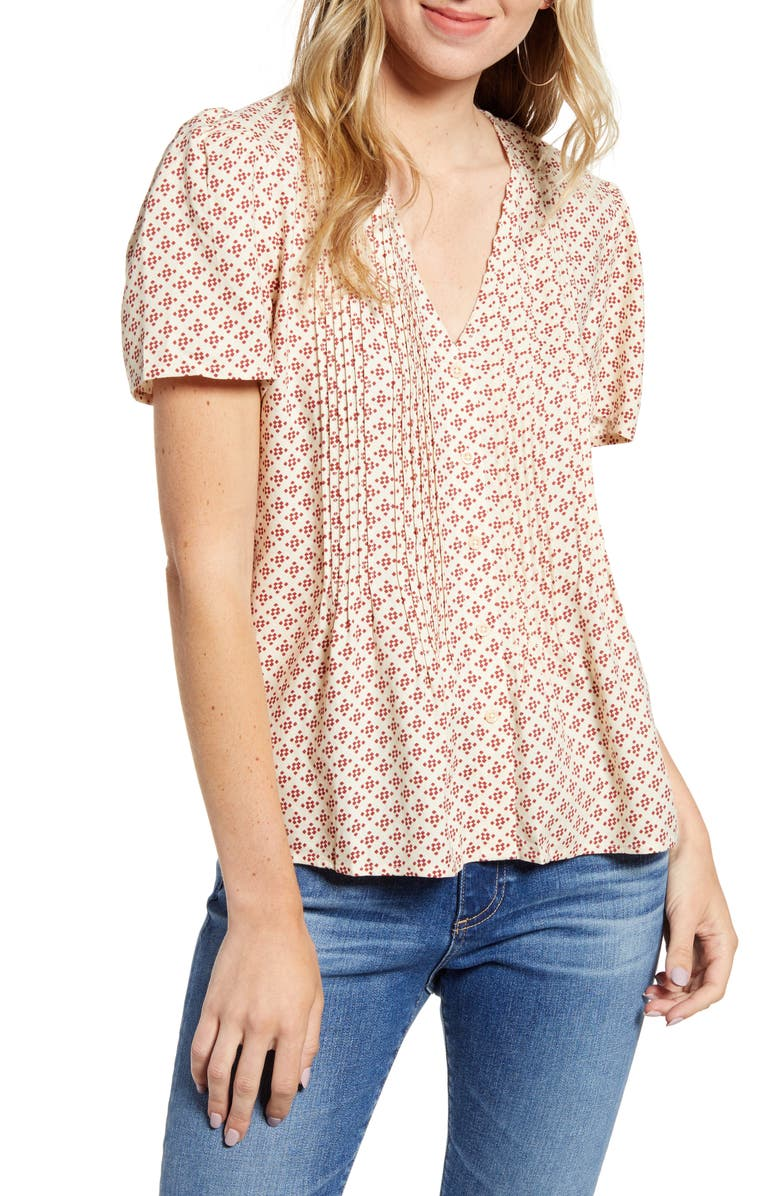 Pintuck V Neck Blouse by Hinge